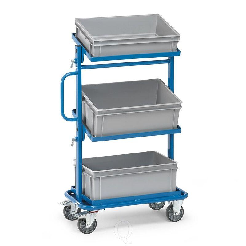 Bijzetwagen 200 kg met 3 etages, 3 eurobakken en open frame kantelbaar
