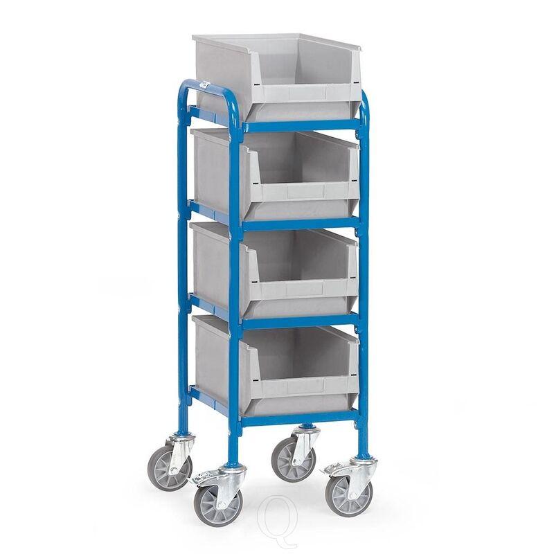 Bijzetwagen 250 kg met 4 etages en 4 magazijnbakken