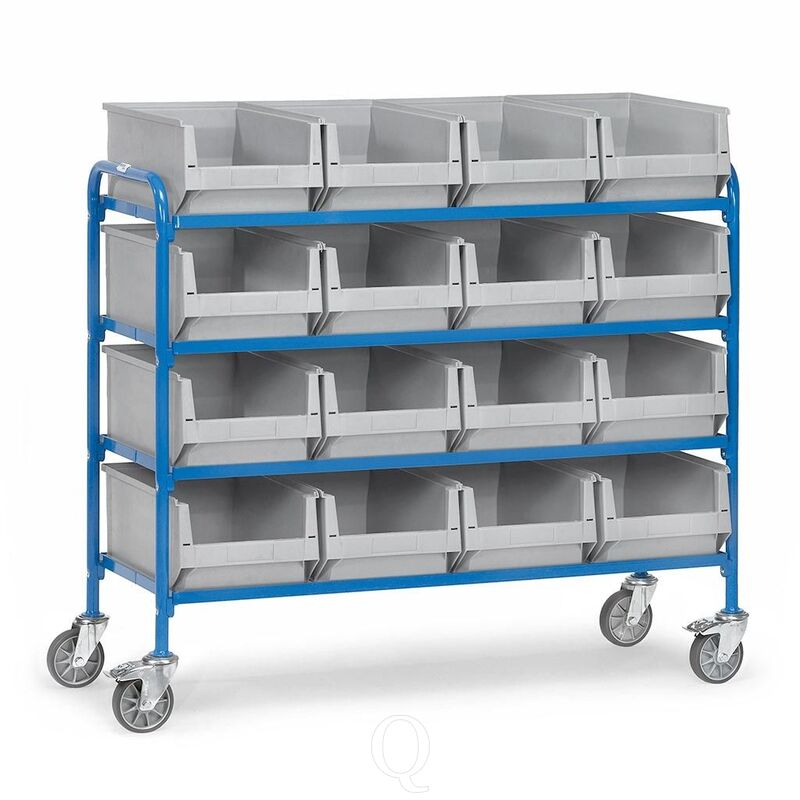 Bijzetwagen 250 kg met 4 etages 1250x470 en 16 magazijnbakken