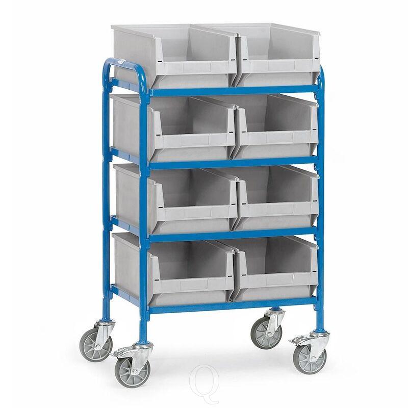 Bijzetwagen 250 kg met 4 etages 630x470 en 8 magazijnbakken