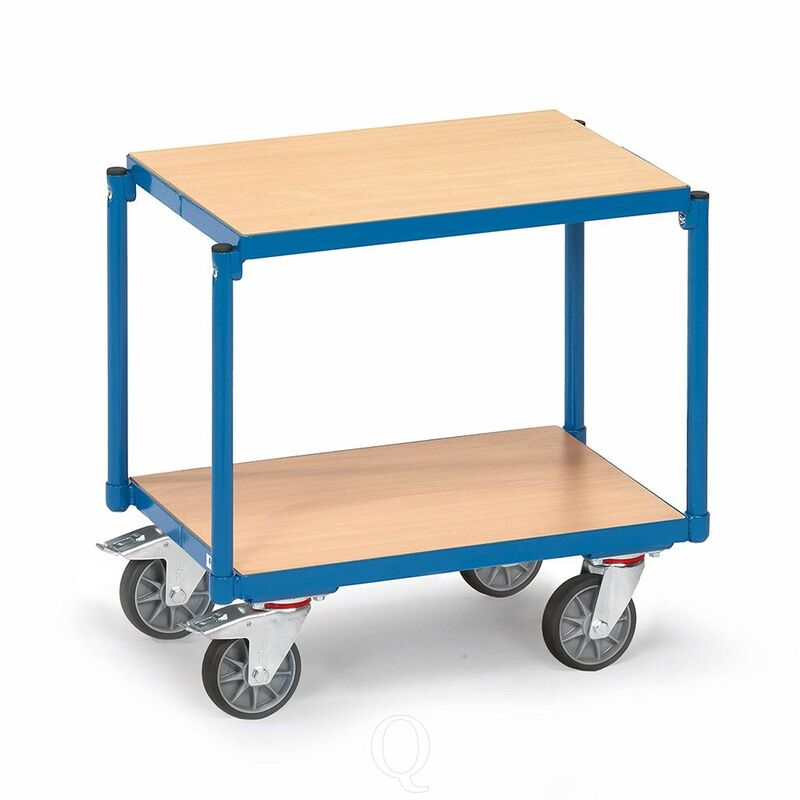 Eurobakken rolplateau 250 kg met 2 gelijke houten etages 605x405