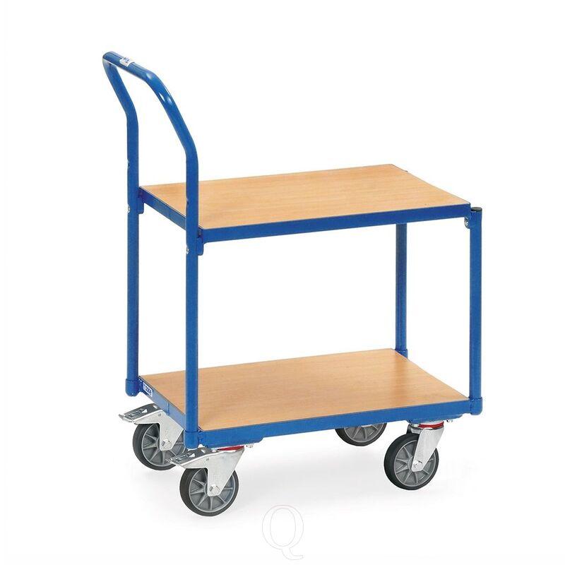 Eurobakken rolplateau 250 kg met 2 gelijke houten etages en duwbeugel 605x405