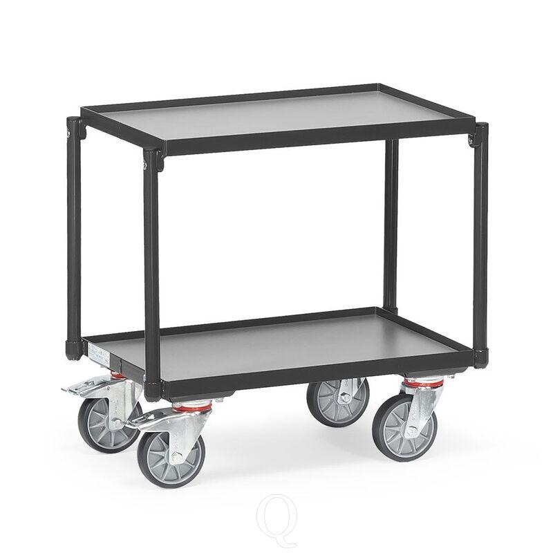 Eurobakken rolplateau 250 kg met 2 houten etages 605x405 antraciet