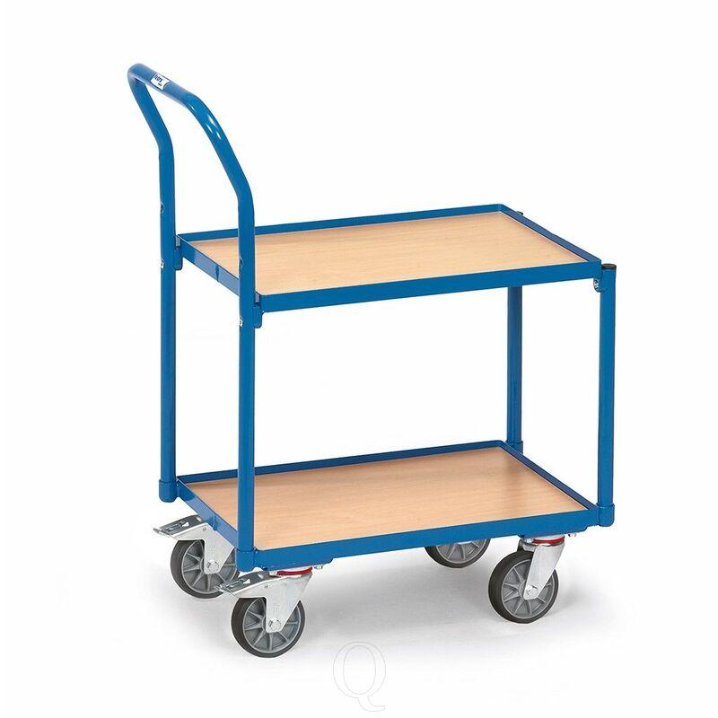 Eurobakken rolplateau 250 kg met 2 houten etages en duwbeugel 605x405