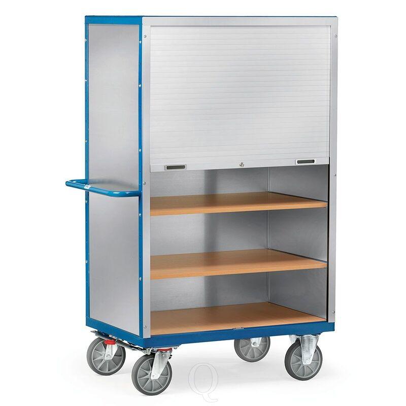 Kastwagen 750 kg 1000x650 met 5 etages aluminium plaat en jalouziedeur afsluitbaar