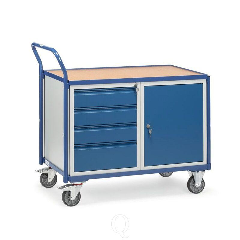 Lichte werkplaatswagen 300 kg met 1 kast en 4 schuifladen 1000x600 mm