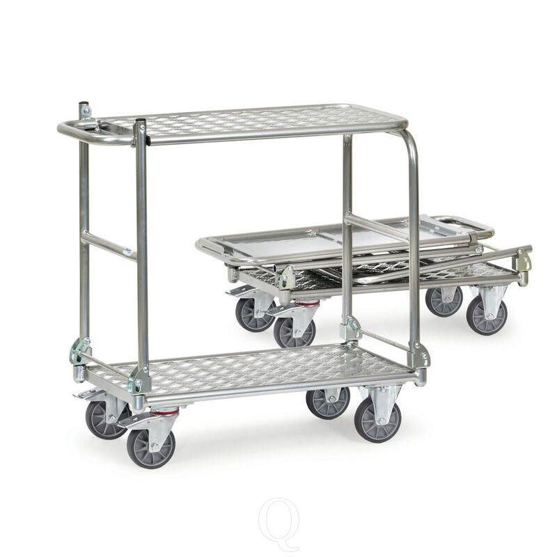 Inklapbare aluminium tafelwagen 200 kg met 2 inklapbare duwbeugels en inklapbare etage 720x450