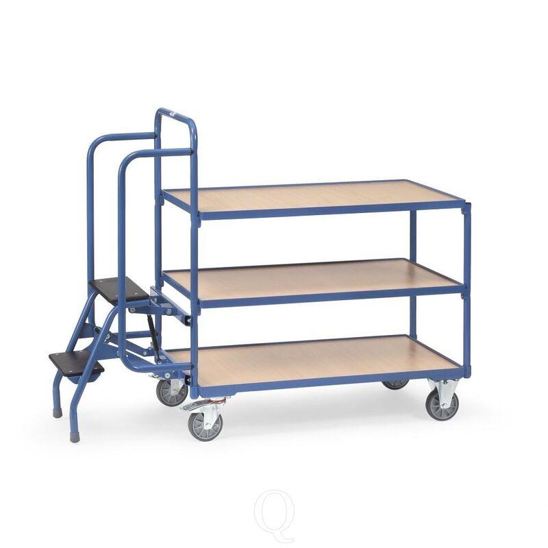 Orderverzamelwagen met 3 laadvlakken en trap