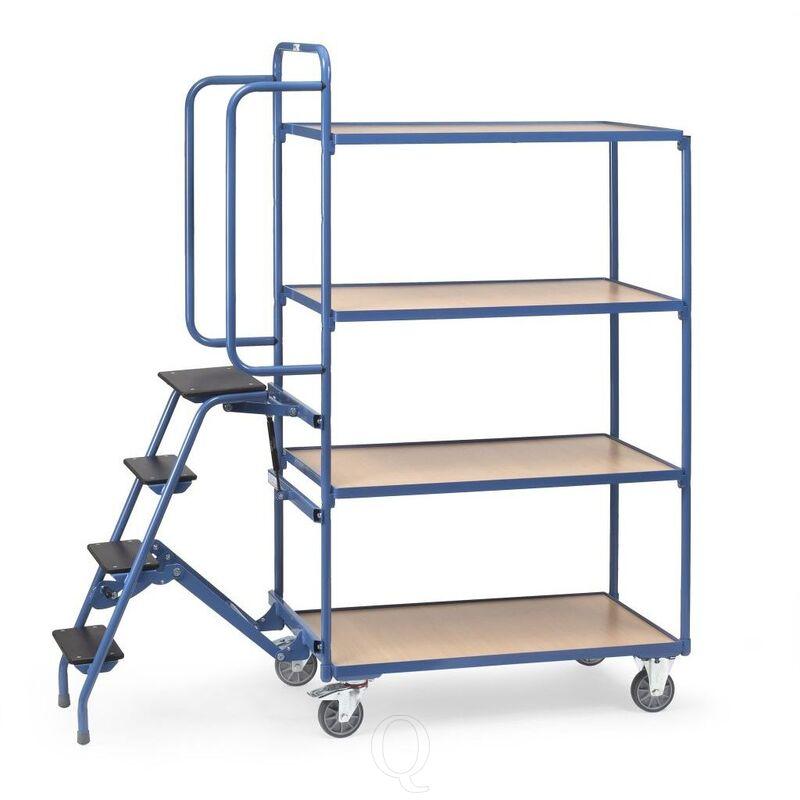 Orderverzamelwagen met 4 laadvlakken en trap, hoge uitvoering