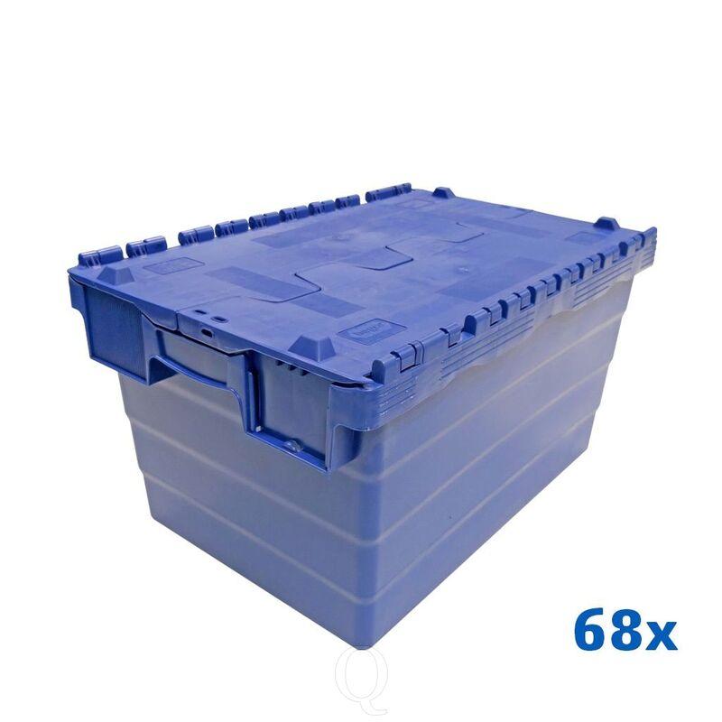 Palletaanbieding 68 distributiebakken, transportbakken 600x400x320 blauw