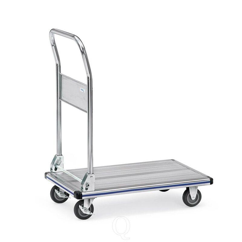 Platformwagen, transportwagen 150 kg van aluminium met inklapbare duwbeugel 740x480