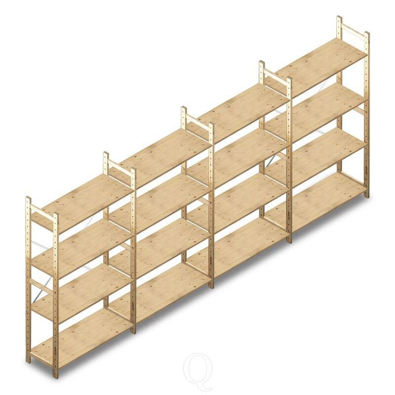 Voordeelrij houten Legbordstelling BT Combi 1780x4030x370 4 niveaus