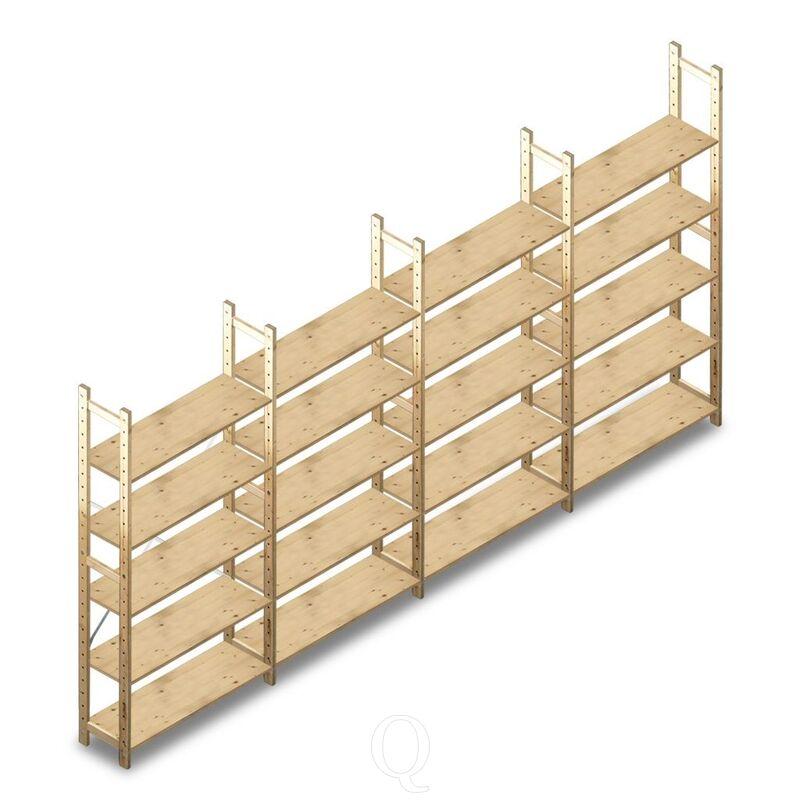 Voordeelrij houten Legbordstelling BT Combi 2080x4030x280 mm 5 niveaus