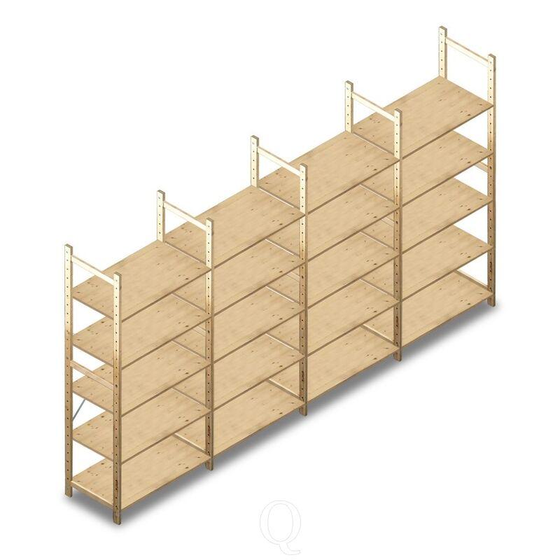 Voordeelrij houten Legbordstelling BT Combi 2080x4030x500 5 niveaus