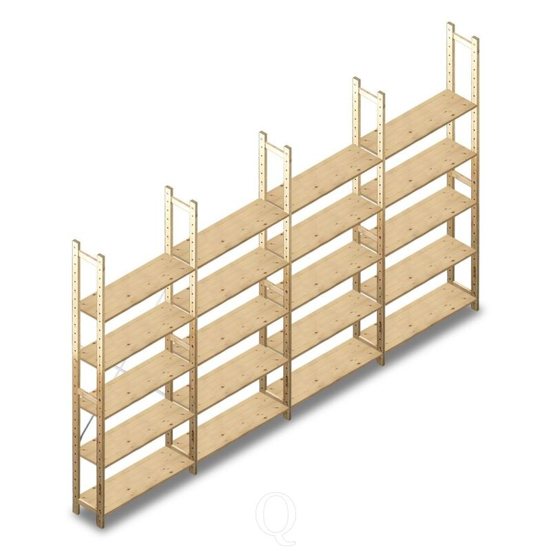 Voordeelrij houten Legbordstelling BT Combi 2380x4030x280 5 niveaus