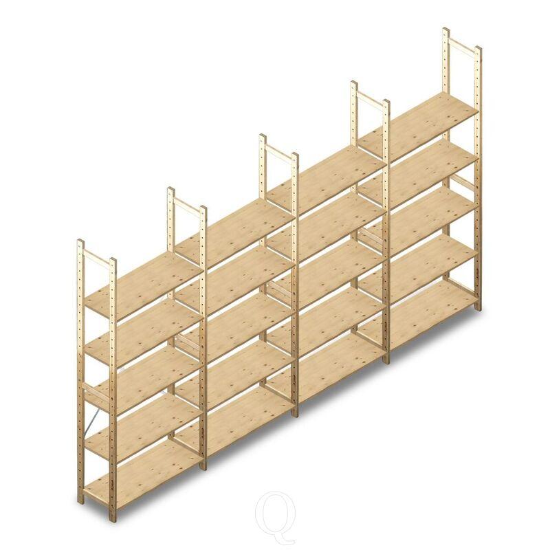 Voordeelrij houten Legbordstelling BT Combi 2380x4030x370 5 niveaus
