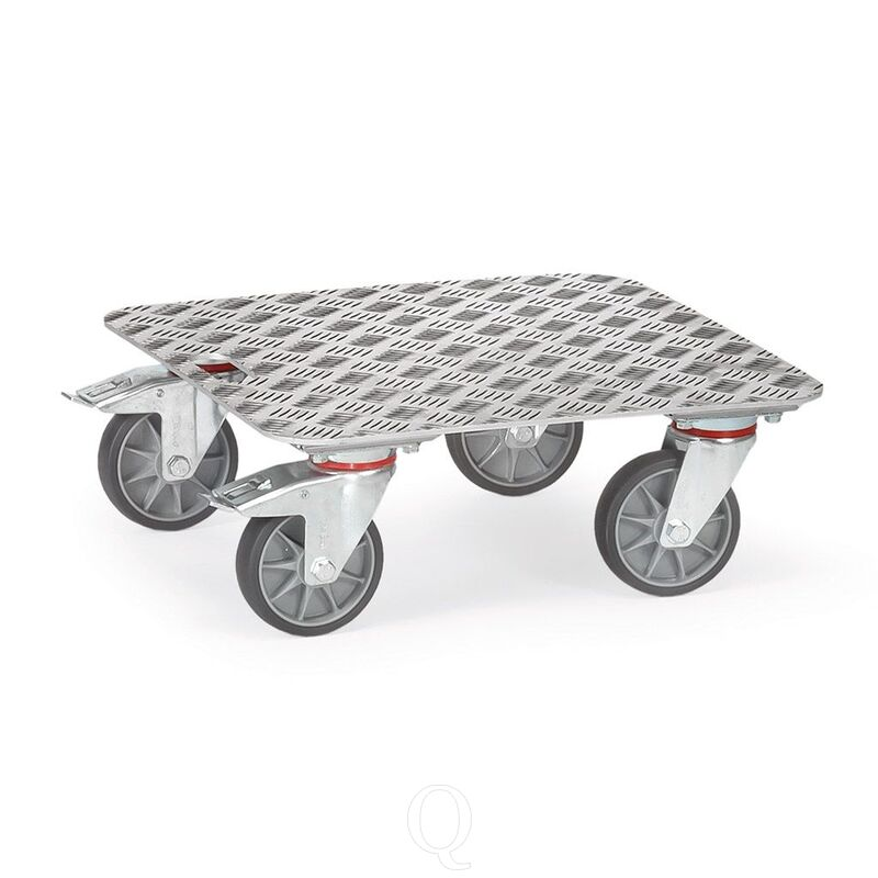 Rolplateau 250 kg 500x500 met aluminium kwintet platform en handvat