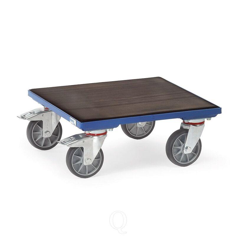 Rolplateau 400 kg 500x500 met houten platform en geribbelde rubbermat