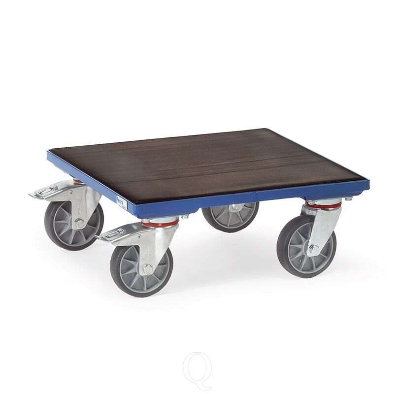 Rolplateau 400 kg 600x600 met houten platform en geribbelde rubbermat