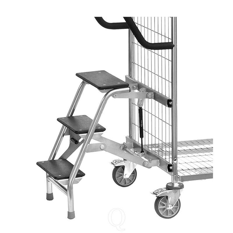 Trap voor orderverzamelwagens van gelast draadgaas met laadvlakbreedte van 610 mm