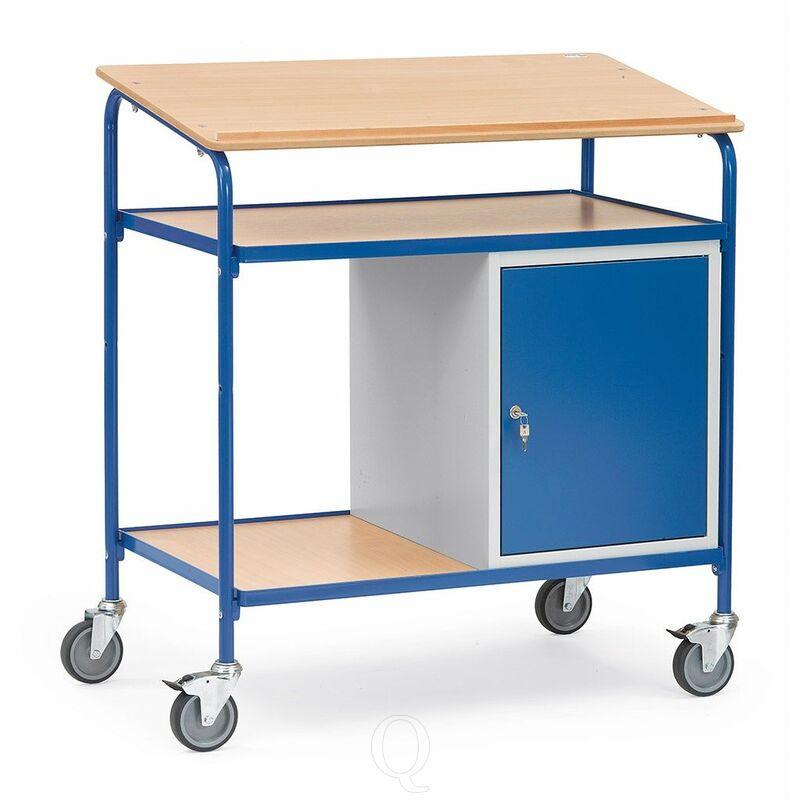 Verrijdbare kast, lessenaar 100 kg 1000x600 met afsluitbare kast en houten schrijfblad, werkblad