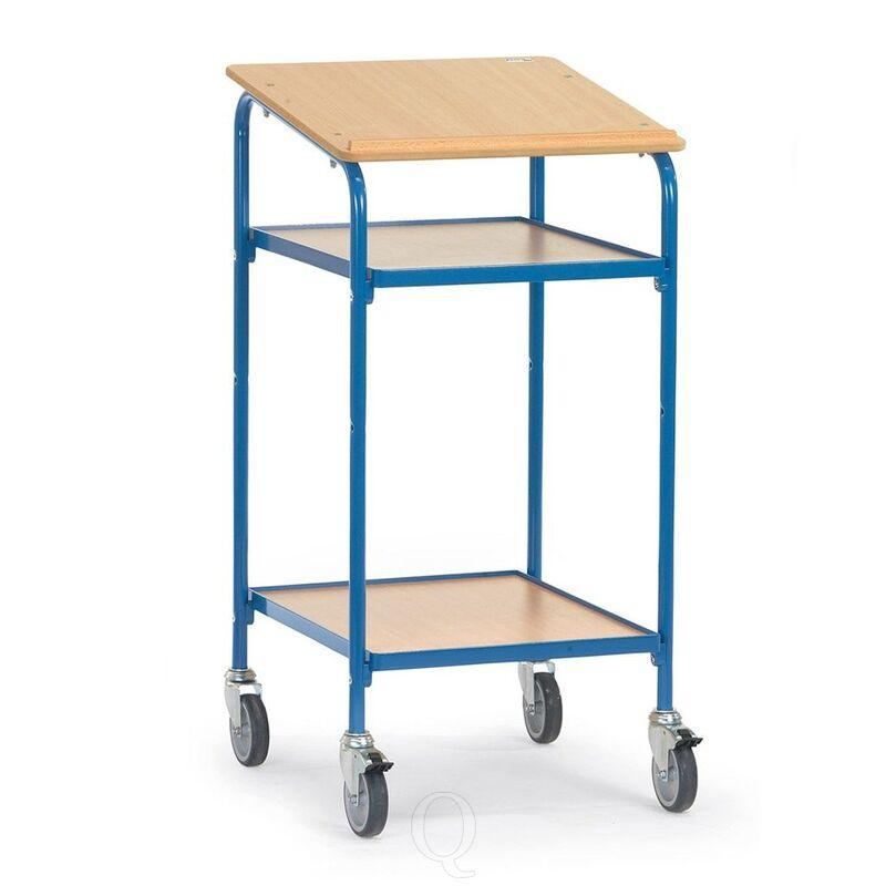 Verrijdbare kast, lessenaar 100 kg 500x600 met schrijfblad en 2 verstelbare etages