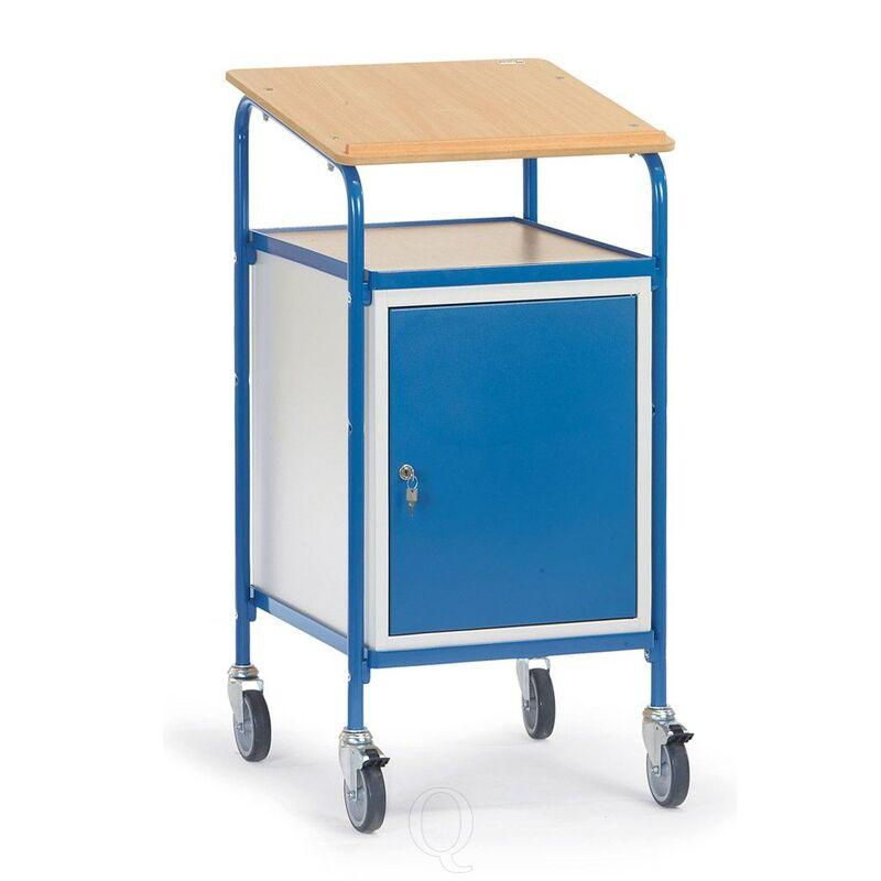Verrijdbare kast, lessenaar 100 kg 500x600 met schrijfblad en afsluitbare kast