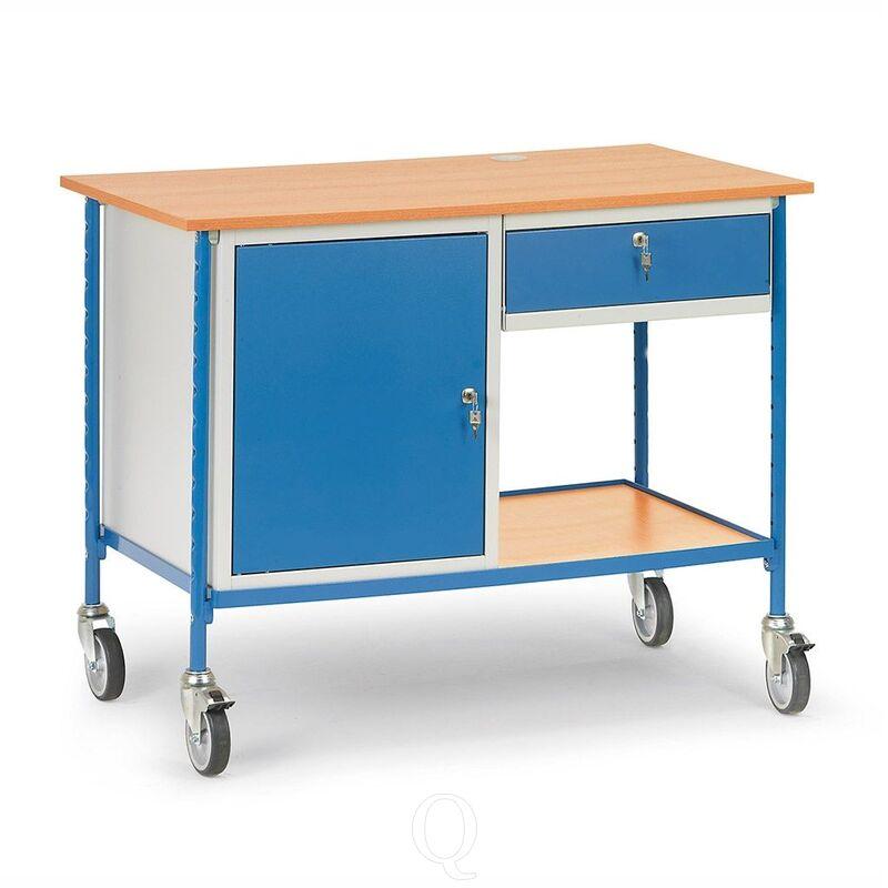 Verrijdbare tafel 150 kg 1120x650 met afsluitbare stalen kast en uittrekbare schuiflade