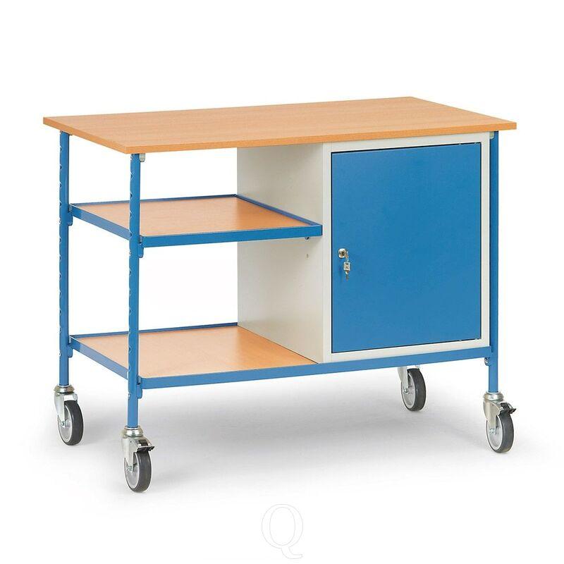 Verrijdbare tafel 150 kg 1120x650 met 2 houten etages en afsluitbare kast
