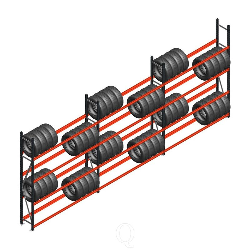 Voordeelrij bandenstelling grootvak AR 2500x6240x400 mm (hxbxd) 3 secties 3 niveaus antraciet