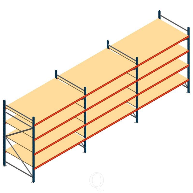Voordeelrij grootvakstelling AR 2000x6990x1200mm (hxbxd) - 4 niveaus