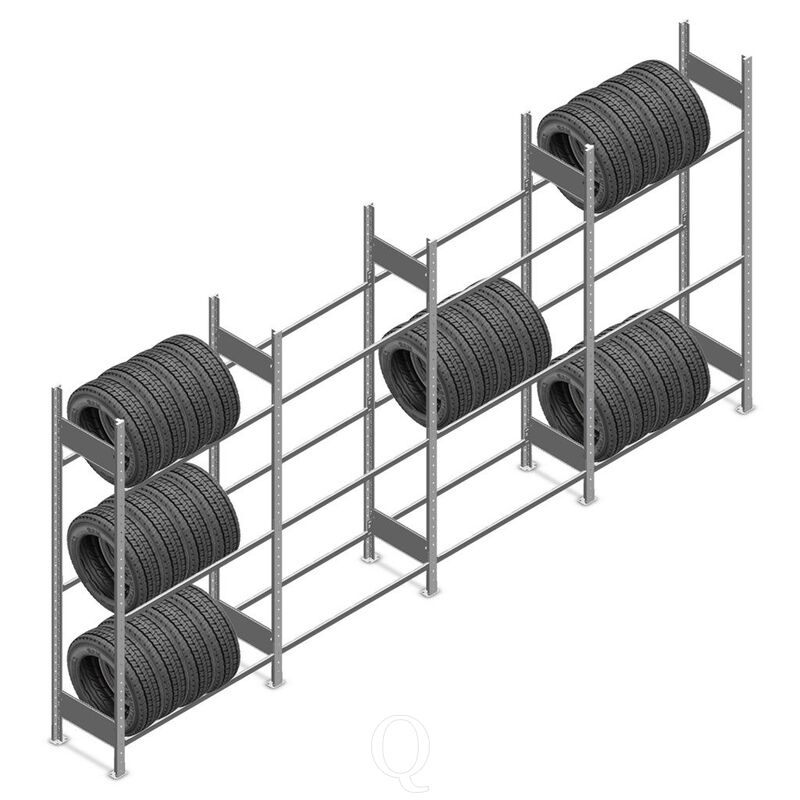 Voordeelrij bandenstelling Heavy Duty 2000x4000x400 3 niveaus 4 secties
