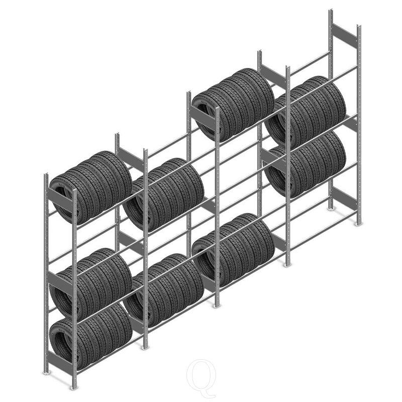 Voordeelrij bandenstelling Heavy Duty 2500x4000x400 4 niveaus 4 secties