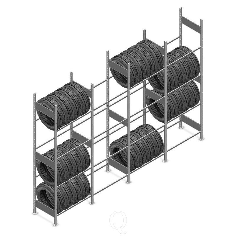 Voordeelrij bandenstelling Heavy Duty 2500x4000x500 4 niveaus 4 secties