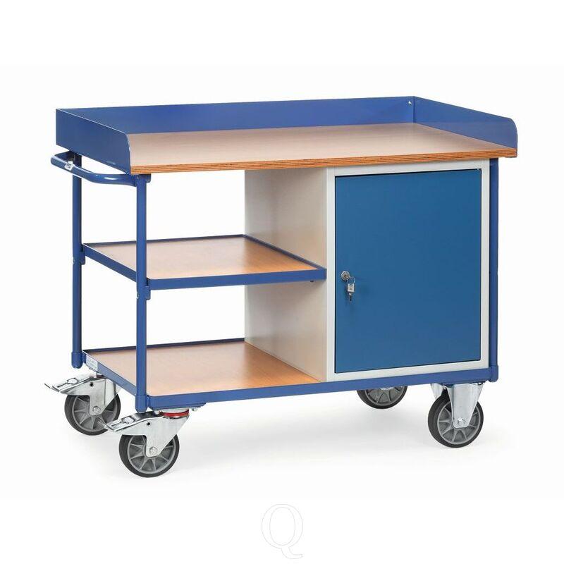 Werkplaatswagen 400 kg met 1 kast en 3 laadvlakken 1120x650 mm