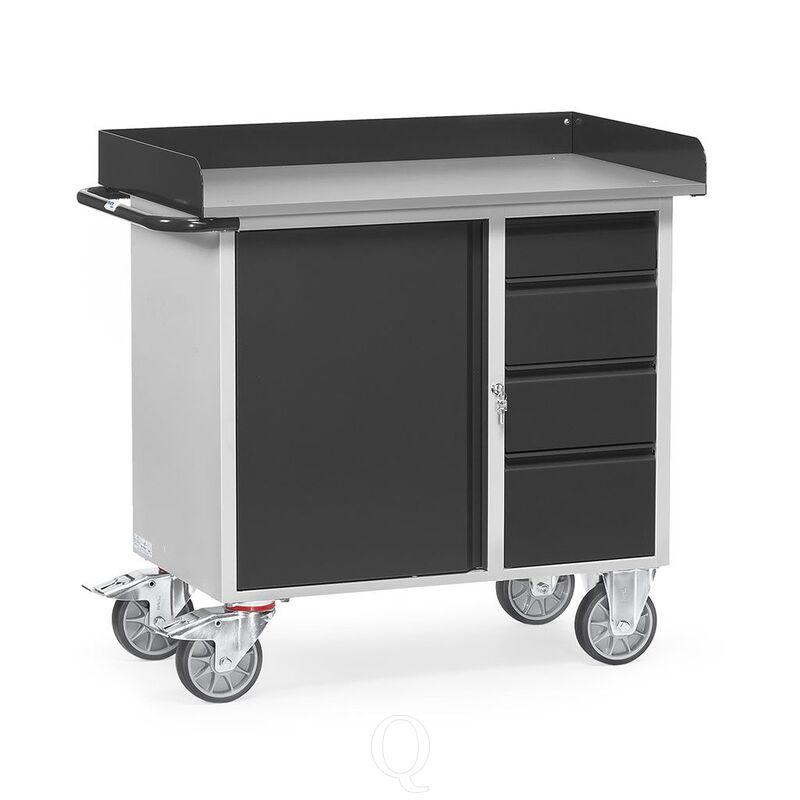 Werkplaatswagen van staalplaat 400 kg met 1 kast, 4 schuifladen en opstaande rand 985x590 antraciet