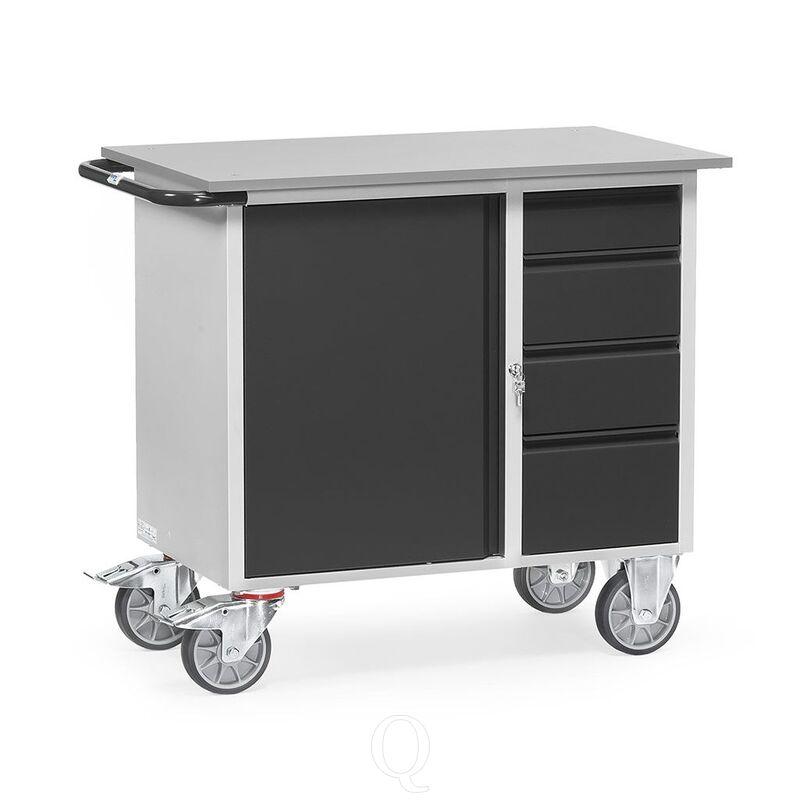 Werkplaatswagen van staalplaat 400 kg met 1 kast en 4 schuifladen 985x590 antraciet