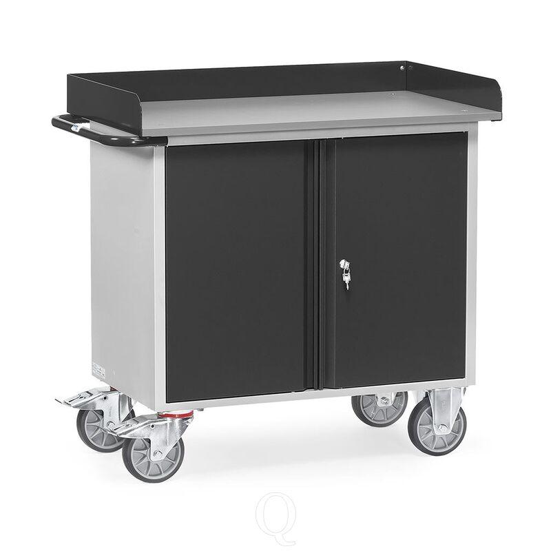 Werkplaatswagen van staalplaat 400 kg met dubbele deuren  en opstaande rand 985x590 mm (lxb) antraciet