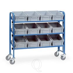 Bakkenwagen 250 kg met 3 etages en 12 eurobakken kantelbaar