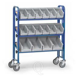 Bakkenwagen 250 kg met 3 etages en 16 magazijnbakken