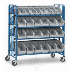 Bakkenwagen 300 kg met 4 etages en 52 magazijnbakken kantelbaar