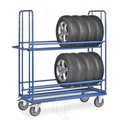 Bandenwagen 400 kg met 2 laadvlakken en platform met ingelast draadgaas