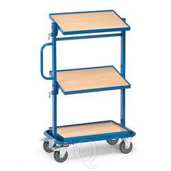 Bijzetwagen 200 kg met 3 houten etages kantelbaar