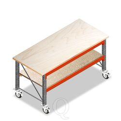 Dubbellaags Werkbank, Werktafel op Wielen zonder voorgemonteerde frames