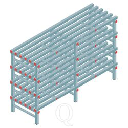 Kunststof stelling, rek 1150x1800x600, 4 niveaus