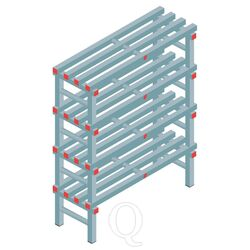 Kunststof stelling, rek 1300x1000x400, 4 niveaus