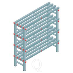 Kunststof stelling, rek 1300x1200x400, 4 niveaus
