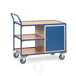 Lichte werkplaatswagen 300 kg met 1 kast en 3 laadvlakken 1000x600 mm