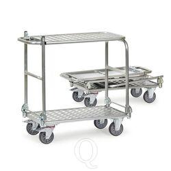 Inklapbare aluminium tafelwagen 200 kg met 2 inklapbare duwbeugels en inklapbare etage 900x600