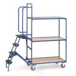 Orderverzamelwagen met 3 laadvlakken en trap, hoge uitvoering